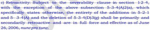 Stricken Retroactivity Clause